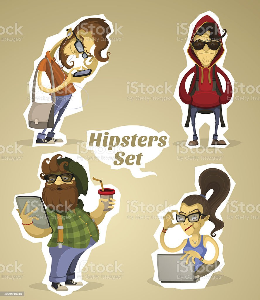 Set hipsters nerds with gadgets and without royalty-free stock vector art