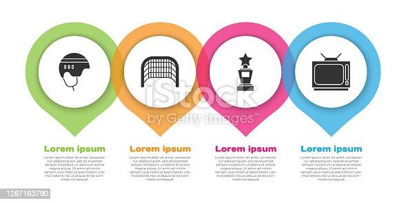 istock Set Hockey helmet, Ice hockey goal, Award cup and Retro tv. Business infographic template. Vector 1267163790