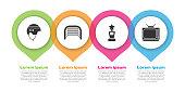 Set Hockey helmet, Ice hockey goal, Award cup and Retro tv. Business infographic template. Vector