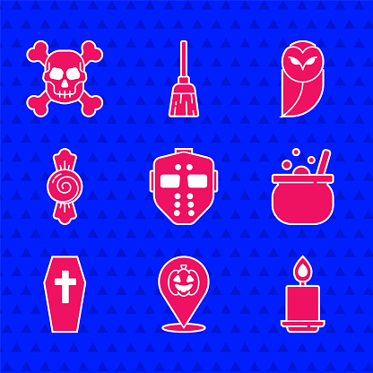 Set Hockey mask, Pumpkin, Burning candle, Halloween witch cauldron, Coffin with cross, Candy, Owl and Skull crossbones icon. Vector