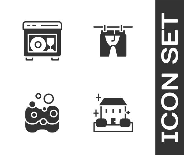 Set Home cleaning service, Dishwasher machine, Sponge and Drying clothes icon. Vector Set Home cleaning service, Dishwasher machine, Sponge and Drying clothes icon. Vector. dishwashing machine stock illustrations