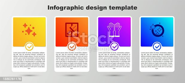 istock Set Home cleaning service, Rubber cleaner for windows, gloves and Washing dishes. Business infographic template. Vector 1330261176