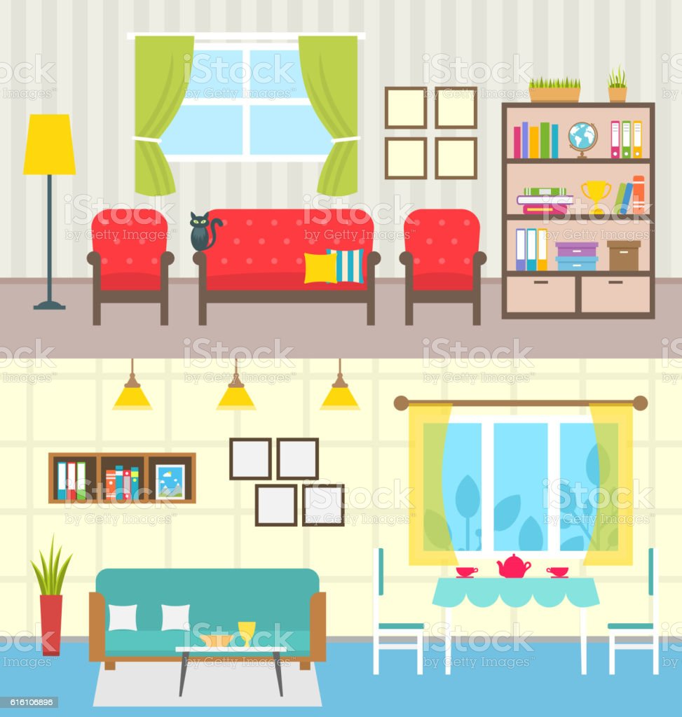 Set Home Interiors. Design of Living Rooms ベクターアートイラスト