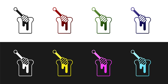 Set Honey dipper stick with dripping honey icon isolated on black and white background. Honey ladle. Vector