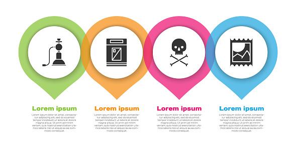 Set Hookah, Cigarettes pack box, Skull on crossbones and LSD acid mark. Business infographic template. Vector