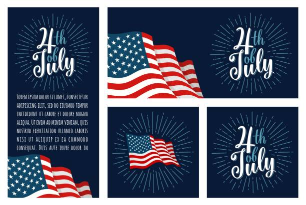 Set horizontal, vertical, square posters 4th of July vector art illustration