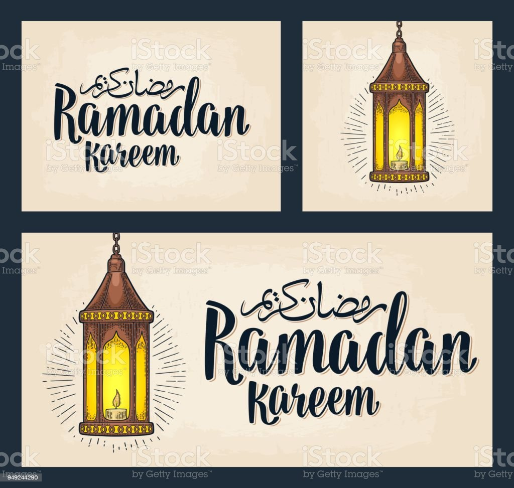 Set horizontal, vertical, square posters. Ramadan kareem lettering vector art illustration
