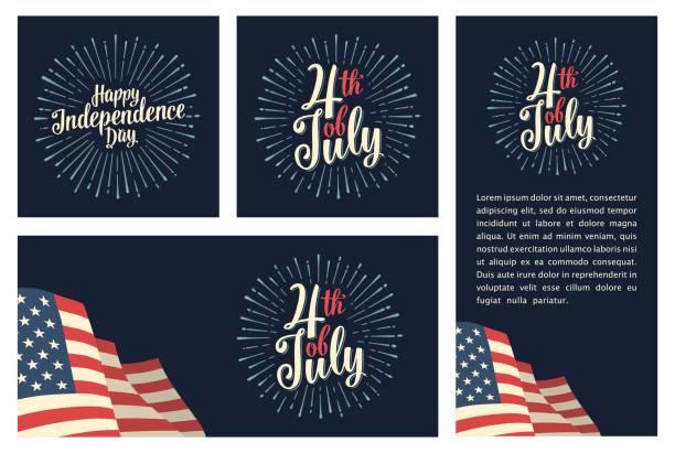 設置與煙花的水準、 垂直、 方形海報世界環境日 - independence day 幅插畫檔、美工圖案、卡通及圖標