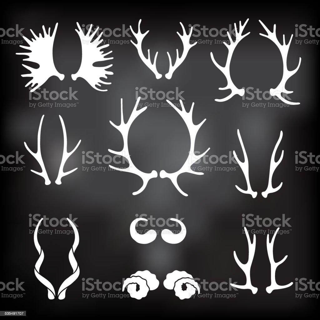 Set horns silhouettes for design vector art illustration