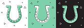 Set Horseshoe icon isolated on white and green, black background. Vector Illustration