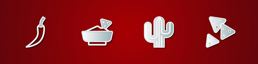 Set Hot chili pepper pod, Nachos in bowl, Cactus and icon. Vector