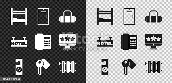 istock Set Hotel room bed, Shower cabin, Suitcase, Please do not disturb, door lock key, Heating radiator, Signboard with text and Telephone handset icon. Vector 1340905834
