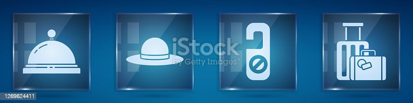 istock Set Hotel service bell, Elegant women hat, Please do not disturb and Suitcase. Square glass panels. Vector 1269624411