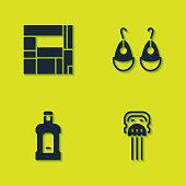 Set House Edificio Mirador, Peineta, Orujo and Earrings icon. Vector