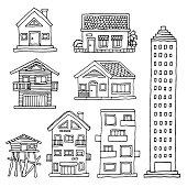 set house home building vector illustration design hand drawing