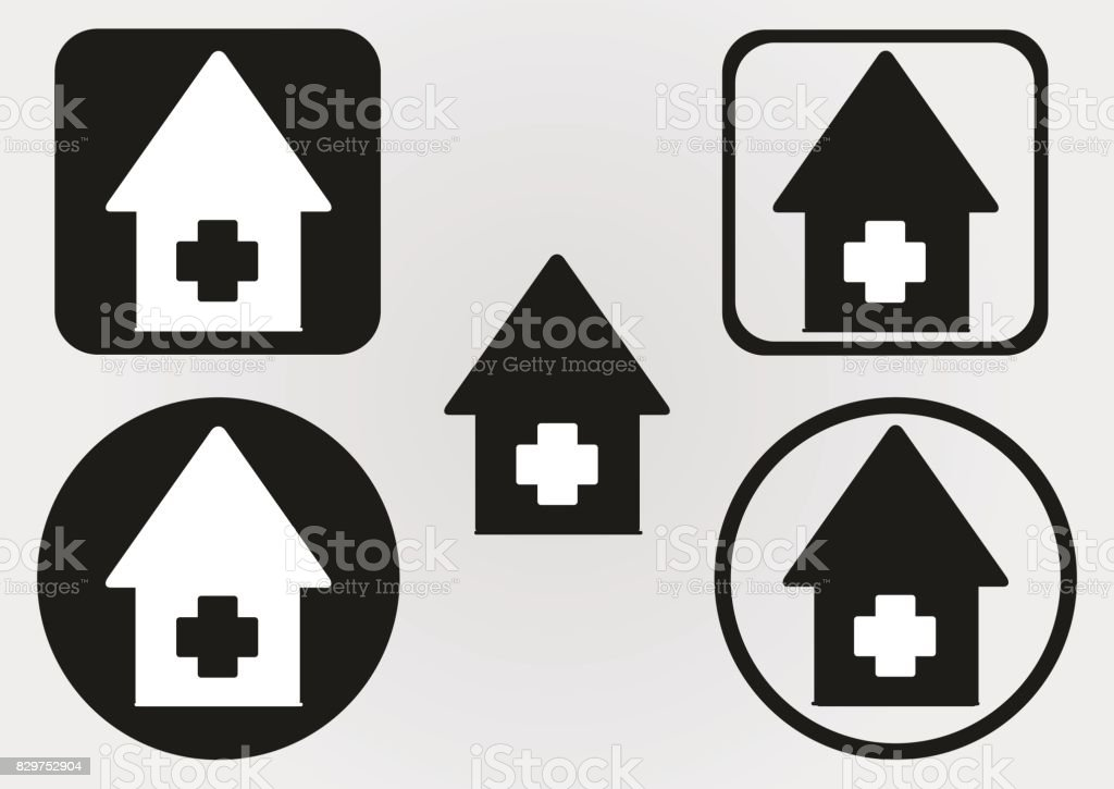 Set House Icon With A Cross Circle Square With Rounded Corners