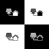 Set House with solar panel icon isolated icons isolated on black and white background. Ecology, solar renewable energy. Eco-friendly house. Environmental Protection. Vector Illustration