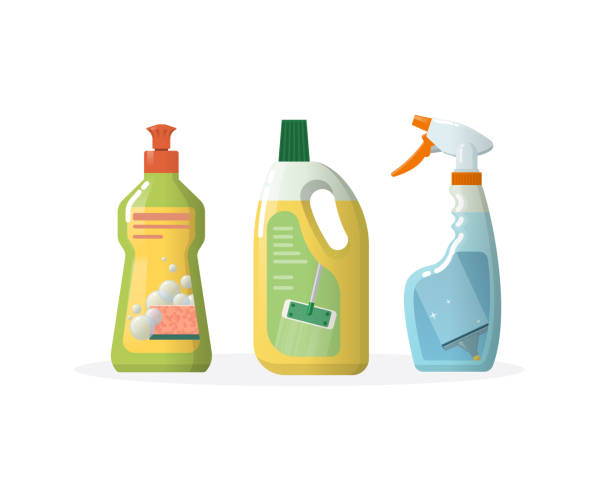 set household, cleaning products for windows, floors, in plastic bottles - disinfectant stock illustrations