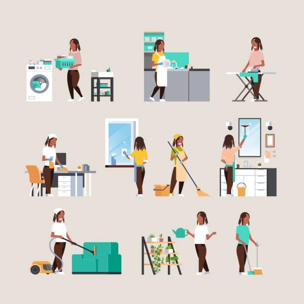 stockillustraties, clipart, cartoons en iconen met set huisvrouw doen huishoudelijk werk verschillende schoonmaak concepten collectie afro-amerikaanse vrouwelijke cartoon personages volledige lengte platte - vrouw schoonmaken