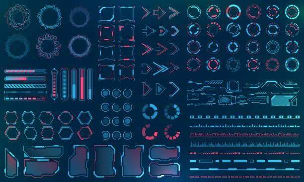 ustaw elementy interfejsu hud - linie, okręgi, wskaźniki, ramki, pasek pobierania dla aplikacji sieci web - futurystyczny stock illustrations