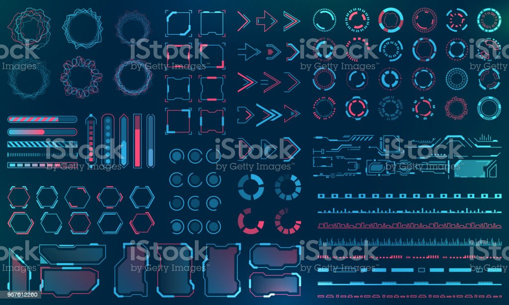 Set HUD Interface Elements - Lines, Circles, Pointers, Frames, Bar Download for Web Applications – artystyczna grafika wektorowa