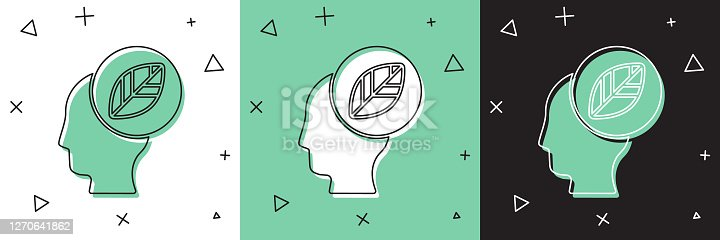 Set Human head with leaf inside icon isolated on white and green, black background. Vector Illustration
