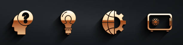 Set Human head with question mark, Light bulb with concept of idea, Globe of the Earth and gear and Safe icon with long shadow. Vector Set Human head with question mark, Light bulb with concept of idea, Globe of the Earth and gear and Safe icon with long shadow. Vector one man only stock illustrations