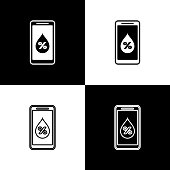 Set Humidity for smart home icon isolated icons isolated on black and white background. Weather and meteorology, thermometer symbol. Vector Illustration