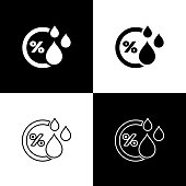 Set Humidity icon isolated icons isolated on black and white background. Weather and meteorology, thermometer symbol. Vector Illustration