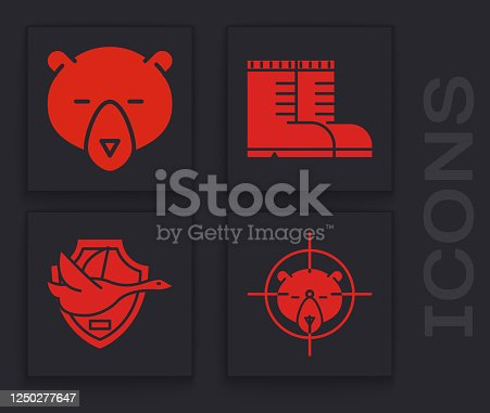Set Hunt on bear with crosshairs, Bear head, Hunter boots and Flying duck on shield icon. Vector