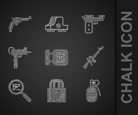 Set Hunting shop weapon, Buying gun pistol, Hand grenade, M16A1 rifle, Pistol or search, UZI submachine, and Revolver icon. Vector