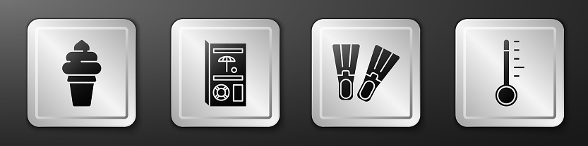 Set Ice cream in waffle cone, Travel brochure, Rubber flippers and Meteorology thermometer icon. Silver square button. Vector