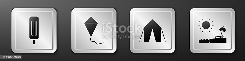 Set Ice cream, Kite, Tourist tent and Beach with umbrella and chair icon. Silver square button. Vector