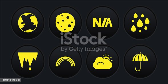 istock Set Icicle, Water drop, Rainbow, Sun and cloud, Not applicable, Moon, Umbrella and Earth globe icon. Vector 1338118300