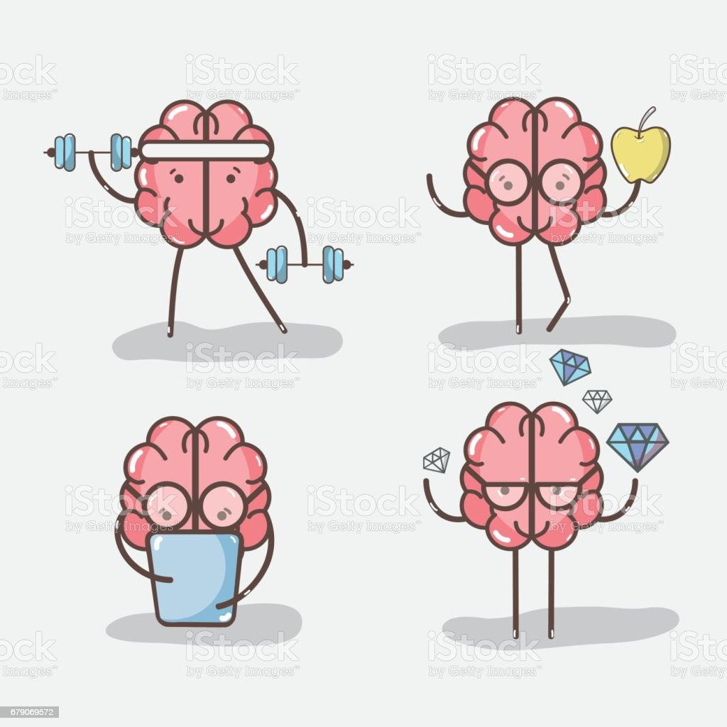 set icon adorable kawaii brain doing different activities vector art illustration