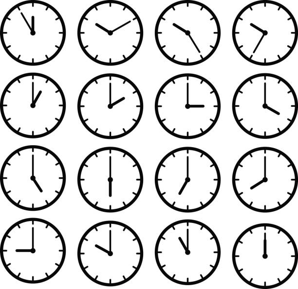 Set icon black clock face vector art illustration