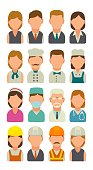 Set icon character cook, builder, business and medical people. Vector flat illustration on white background.