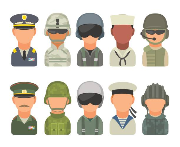 Set icon character military people. Soldier, officer, pilot, marine, sailor, trooper Set icon character russian and american military people. Soldier, officer, pilot, marine, trooper, sailor. Vector flat illustration on white background. major military rank stock illustrations
