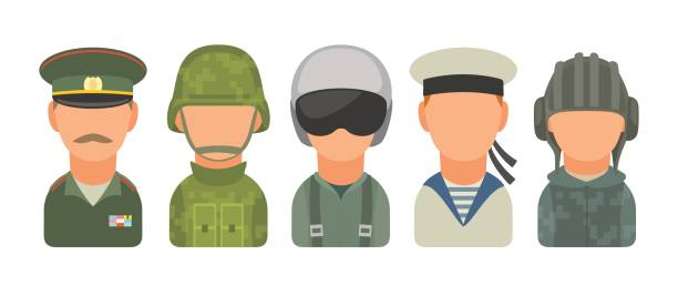 Set icon character russian military people. Soldier, officer, pilot, marine, trooper, sailor Set icon character russian military people. Soldier, officer, pilot, marine, trooper, sailor. Vector flat illustration on white background major military rank stock illustrations