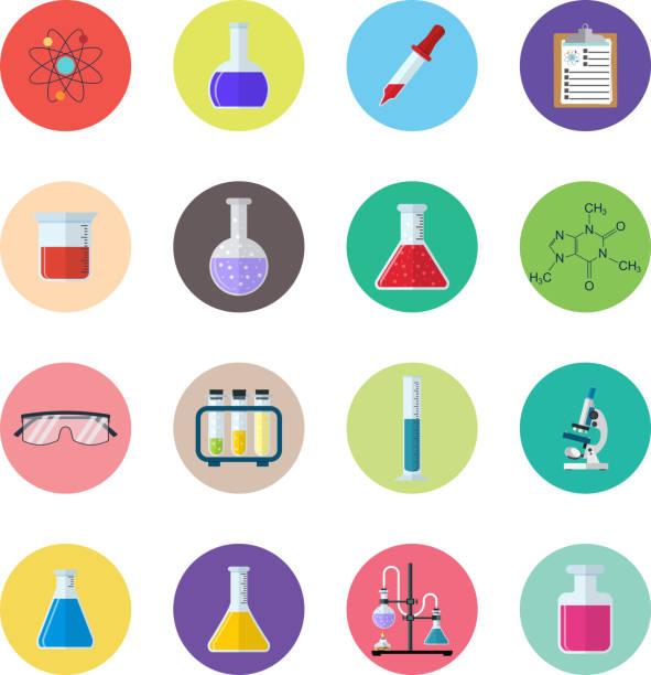 stockillustraties, clipart, cartoons en iconen met set icon chemicals - scheikunde