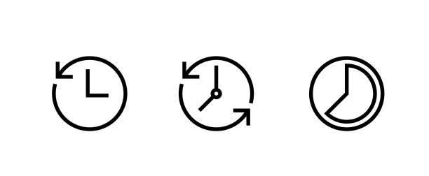 Set icon Clock on white background. Recent event history. Editable Vector Outline. vector art illustration