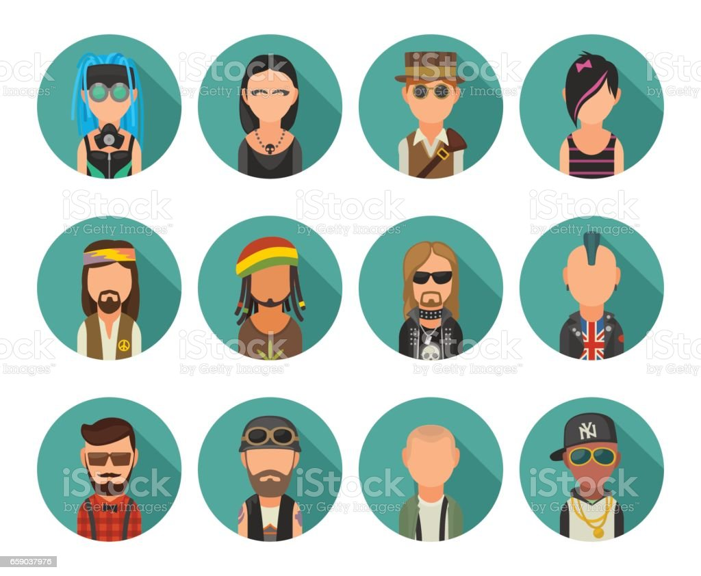 Set icon different subcultures people. Hipster, raper, emo, rastafarian, punk, biker, goth, hippy, metalhead, steampunk, skinhead, cybergoth. royalty-free set icon different subcultures people hipster raper emo rastafarian punk biker goth hippy metalhead steampunk skinhead cybergoth stock vector art & more images of adult