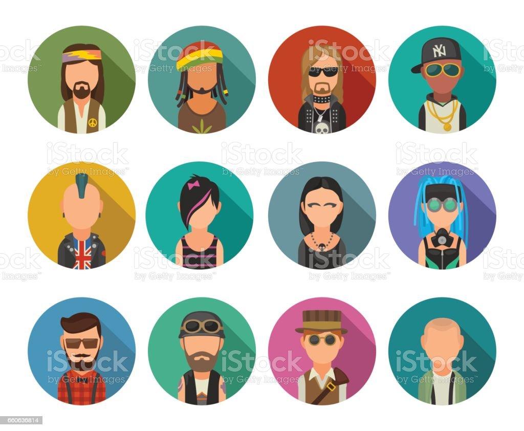 Set icon different subcultures people. Hipster, raper, emo, rastafarian, punk, biker, goth, hippy, metalhead, steampunk, skinhead, cybergoth. vector art illustration