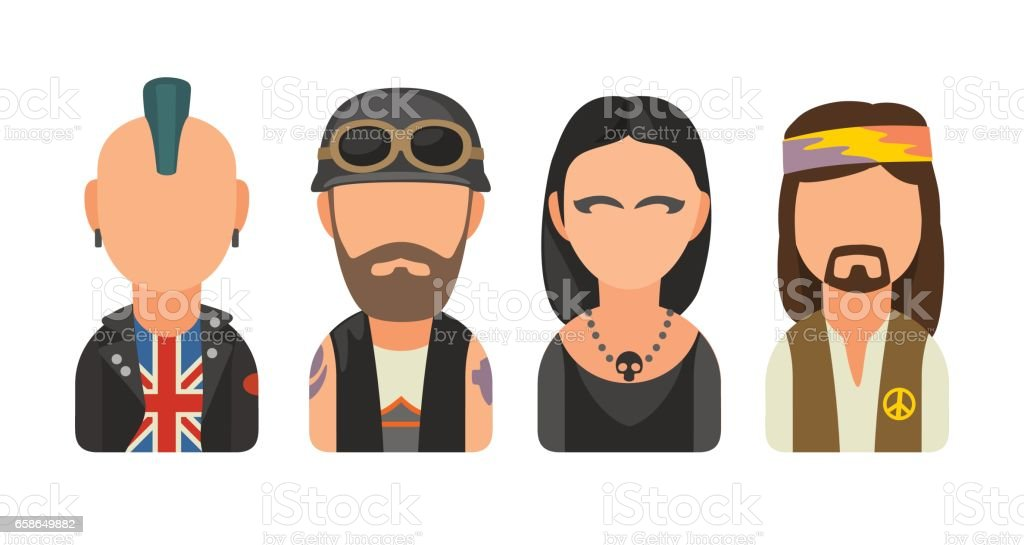 Set icon different subcultures people. Punk, biker, goth, hippy vector art illustration