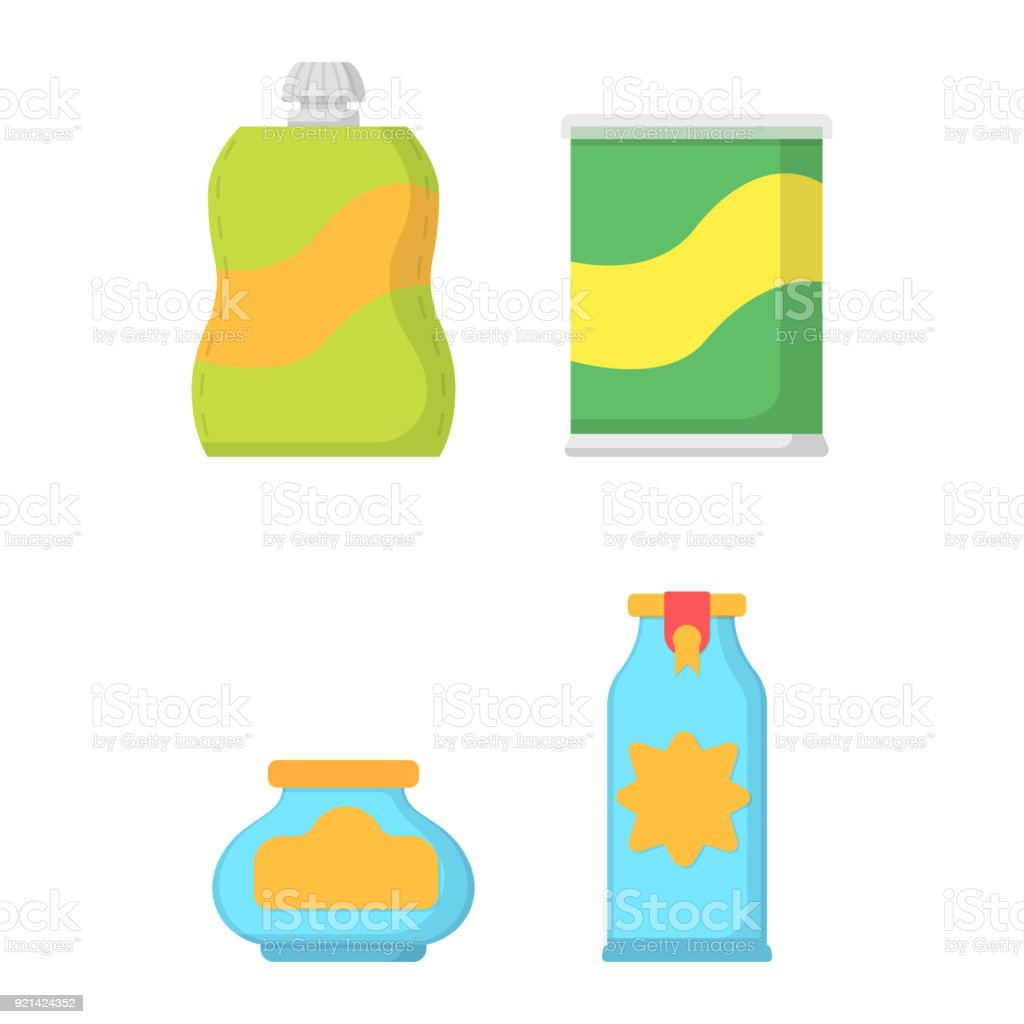 set icon glass bottle and food packaging stock vector art more rh istockphoto com vector packaging inc vector packaging kentland in