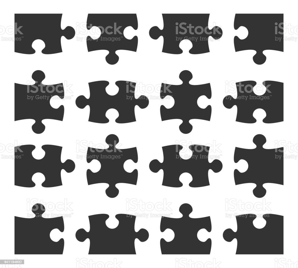 Set Icon Jigsaw Puzzle Part Design Elements Silhouette Stock Vector ...