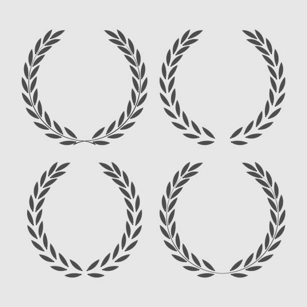 set icon laurel wreath set icon laurel wreath - vector illustration Black bay leaf stock illustrations