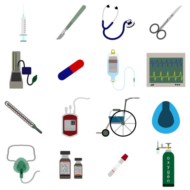 set icon of Medical equipment vector illustration Medical equipment icon color set vector illustration oxygen mask stock illustrations