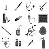 Medical equipment icon color set vector illustration