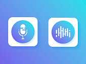 Set icon, Personal assistant and voice recognition . Icon microphone button and sound of waves